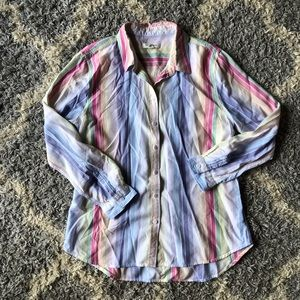 [BeachLunchLounge] Rainbow Striped Button Down Top
